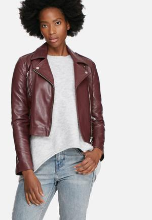 Vero Moda Rida Leather Jacket Burgundy