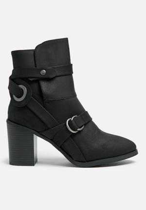 Missguided Shield Strap Boot Black