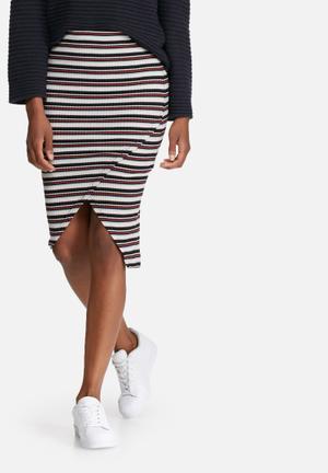 Vero Moda Tammi Rib Skirt Cream, Navy & Orange