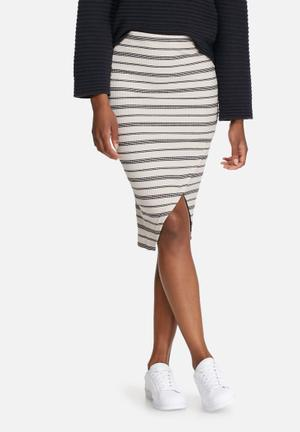 Vero Moda Tammi Rib Skirt Cream & Navy