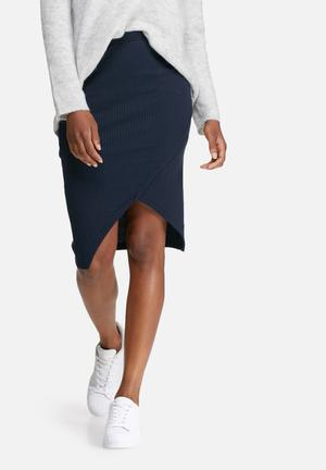 Vero Moda Tammi Rib Skirt Navy