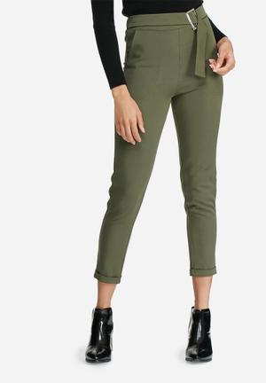 Dailyfriday Buckle Detail Formal Pants Trousers Olive