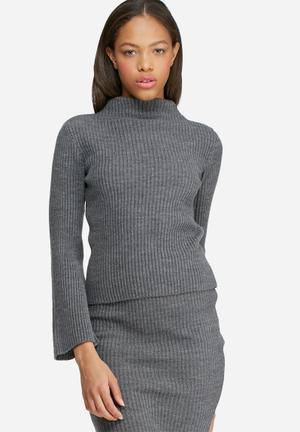 Dailyfriday Split Sleeve Funnel Neck Knitwear Grey