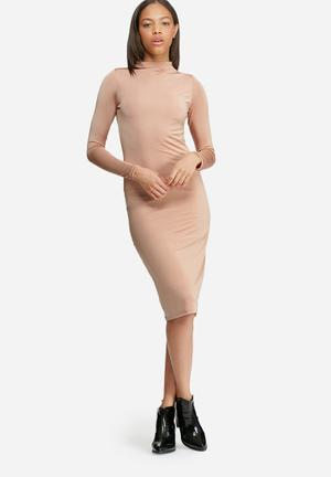 Dailyfriday Slinky Polo Neck Dress Formal Dusty Pink