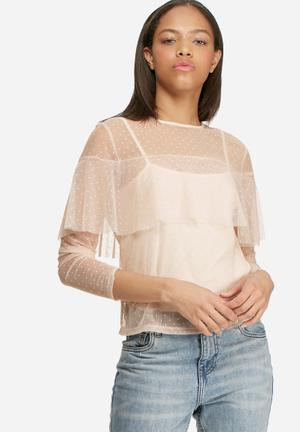 Dailyfriday Mesh Frill Blouse Pink