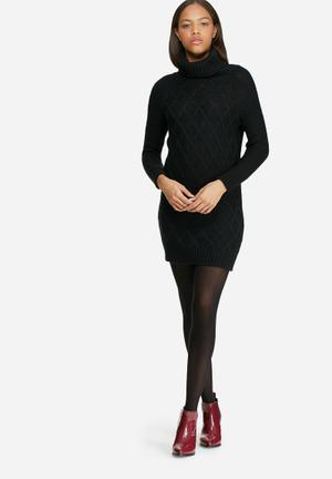 Dailyfriday Roll Neck Cable Knitwear Dress Casual Black
