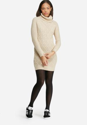 Dailyfriday Roll Neck Cable Knitwear Dress Casual Cream