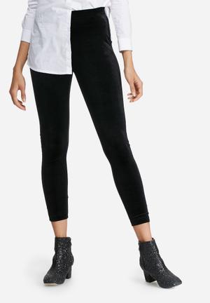 Dailyfriday Velvet High Waisted Leggings Trousers Black