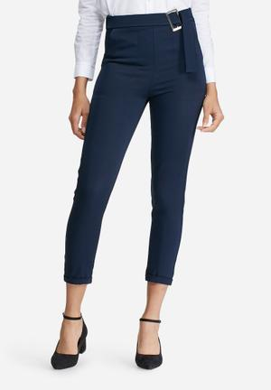 Dailyfriday Buckle Detail Formal Pants Trousers Navy
