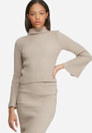 Dailyfriday Split Sleeve Funnel Neck Knitwear Light Brown