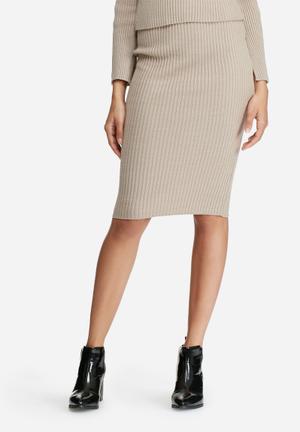 Dailyfriday Ribbed Tube Skirt Light Brown