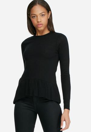Dailyfriday Dipped Peplum Knitted Sweater Knitwear Black