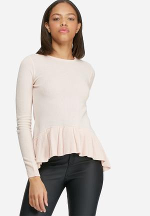 Dailyfriday Dipped Peplum Knitted Sweater Knitwear Pink