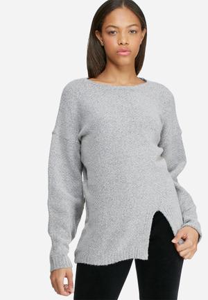 Dailyfriday Split Front Knit Knitwear Grey