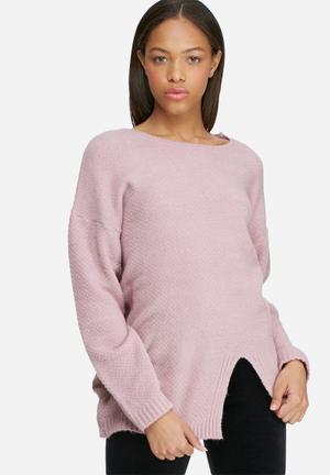 Dailyfriday Split Front Knit Knitwear Pink