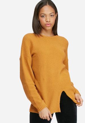 Dailyfriday Split Front Knit Knitwear Yellow