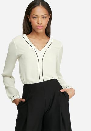 Dailyfriday Tipped Formal Blouse White & Black