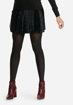 Dailyfriday Velvet Pleated Mini Skirt Black