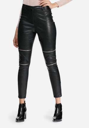 Missguided Premium Zip Detail Faux Leather Trousers Black