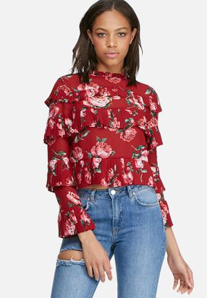 Missguided Rose Print Ruffle Blouse Red, Pink & Green