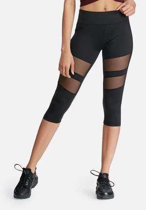 Missguided Active Fishnet Panel Crop Leggings Bottoms Black