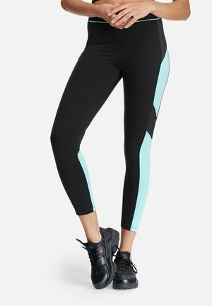 Missguided Active Colour Block Mesh Leggings Bottoms Black & Blue