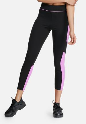 Missguided Active Colour Block Mesh Leggings Bottoms Black & Purple