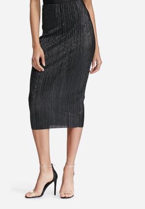 Missguided Glitter Crinkle Midi Skirt Black & Silver