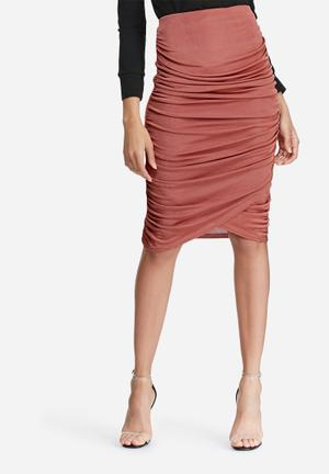 Missguided Slinky Ruched Side Midi Skirt Pink