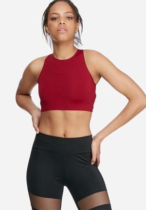 Missguided Active Lace Up Back Bralet Burgundy