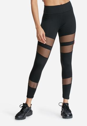 Missguided Active Fishnet Panel Leggings Bottoms Black