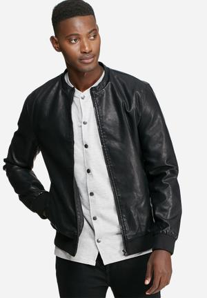 Only & Sons Camp Faux Leather Jacket Black