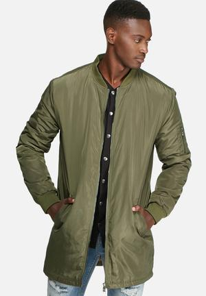 Only & Sons Camp Long Padded Bomber Jackets Khaki