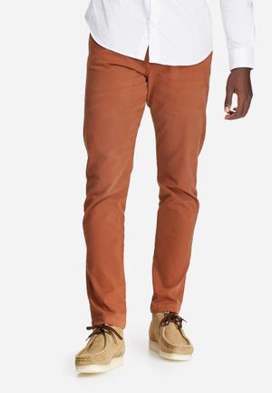 Jack & Jones Jeans Intelligence Regular Fit Chino With Belt Burnt Orange
