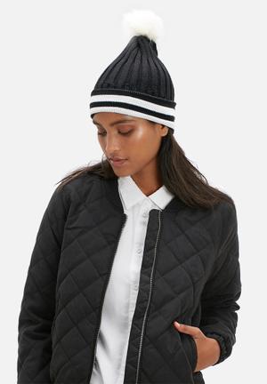 Dailyfriday Stripe Pom Pom Beanie Headwear Black & White