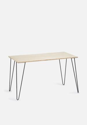 Sixth Floor Hairpin Desk Wood & Metal