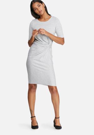 Vero Moda Sachi Knot Dress Casual Grey Melange