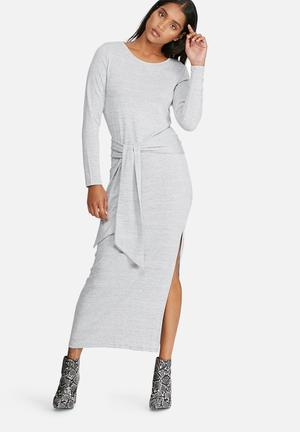 Vero Moda Sachi Tie Maxi Dress Casual Grey Melange