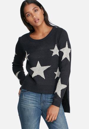 ONLY Starrie Slit Sweater Knitwear Navy