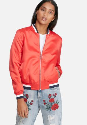 ONLY Starly Embroidery Bomber Jacket Red