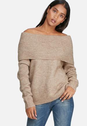 ONLY Bergen Off Shoulder Sweater Knitwear Soft Brown