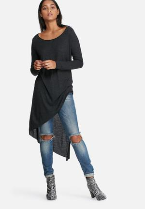 ONLY Winnie Asymmetrical Tee T-Shirts, Vests & Camis Charcoal