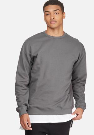 Basicthread Oversized Pullover Crew Sweat Hoodies & Sweatshirts Grey