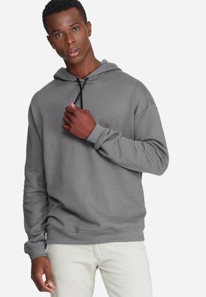 Basicthread Oversized Drop Shoulder Pullover Hoodie Sweat Hoodies & Sweatshirts Grey