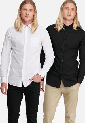 Basicthread 2 Pack Plain Long Sleeve Poplin Shirt White & Black
