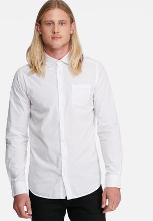 Basicthread Regular Fit 1 Pocket Poplin Formal Shirts White