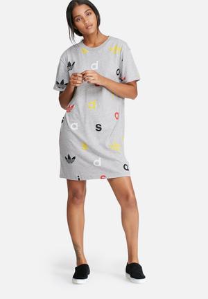 Adidas Originals Tee Dress Casual Grey Melange