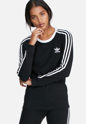 Adidas Originals 3 Stripe Long Sleeve Tee T-Shirts Black