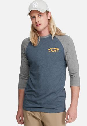 Vans Roll Em Raglan Tee T-Shirts & Vests Blue, Grey & Yellow