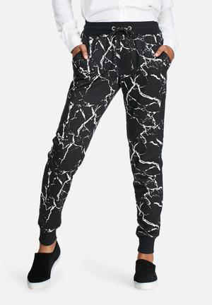 Noisy May Mar Sweat Pants Trousers Black & White